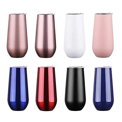 XLLX Trinkflasche Edelstahl Wasserflasche,6oz,Becher Flasche,Tragbare Edelstahl-Wasserflasche,Sport Trinkflasche für Joggen Yoga@White_6oz