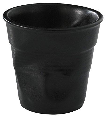 REVOL RV002114 Tasse cappuccino froissé 8,5cm noir, porcelaine, noir, 8.5 x 8.5 x 8.5 cm