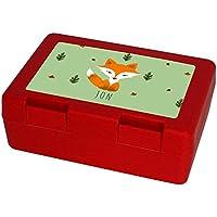 Preisvergleich für Eurofoto Brotdose mit Namen Jon und schönem Motiv mit Aquarell-Fuchs für Jungen - Brotbox - Vesperdose - Vesperbox - Brotzeitdose mit Vornamen