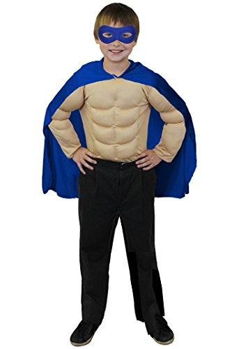 ILOVEFANCYDRESS SUPERHELDEN Hero Kinder=Jungen+ MÄDCHEN=MIT+OHNE FARBLICH PASSENDER Augenmaske+MIT MUSKELSHIRT=KOSTÜM VERKLEIDUNG Fasching UND Karneval=UMHANG+Maske-BLAU+Muskel Shirt-XLarge/BEIGE