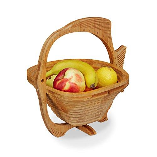 Relaxdays 10020242 cestino portafrutta, legno, marrone, 22.5x27x27 cm