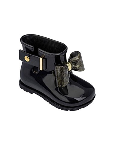 Melissa Mini Infants Sugar Rain Bow 18 Plastic Boot Black Glitter-Black-5 Size 5