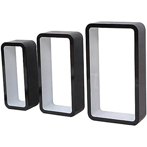 Songmics Juego de 3 blanco y negro estantes para libros CDs Estanterías de pared Cubos retro