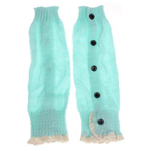 Socken Longra Baby Kinder Mädchen Crochet Lace Boot Manschetten Topper Beinwärmer gestrickt Socken (Green) (Boot Schenkel-hoch)