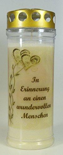"""Grablicht-Kerze Ranke Herzen Go """"In Erinnerung an.."""" (20/7 cm) 3779 - 7 Tage Brenndauer - Grabkerze mit Motiv und Spruch - Trauerkerze mit Foto und Spruch"""