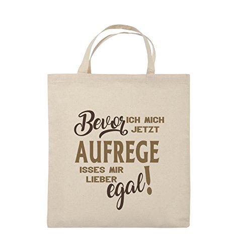 Comedy Bags - Bevor ich mich jetzt aufrege isses mir lieber egal! - Jutebeutel - kurze Henkel - 38x42cm - Farbe: Schwarz / Weiss-Neongrün Natural / Hellbraun-Dunkelbraun