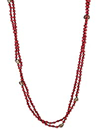 Bling Studio Red Beads Thread Necklace With Close Loop Closure Red Thread Close Loop Beads.Declaimer:Product Color...