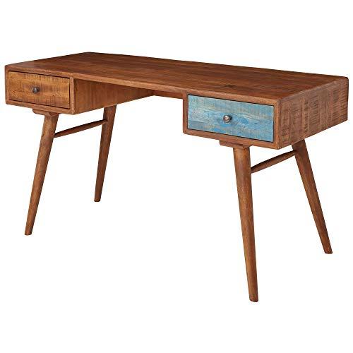 FineBuy Schreibtisch FB51409 140x78x60 cm Mango Massivholz PC Tisch Shabby Chic   Design Computertisch Holz   Arbeitstisch Laptoptisch mit Schublade   Bürotisch Vintage   Retro Holztisch Massiv