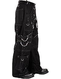 Dead Threads Elite gris hilo Metal gótico Punk pantalones de pantalones para hombre negro