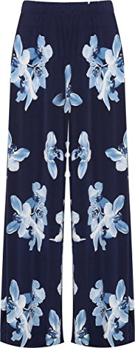 WearAll WEARALLWomen's Plus Floral Print High Waisted Palazzo Trousers New Ladies Wide Leg Pants 12-26