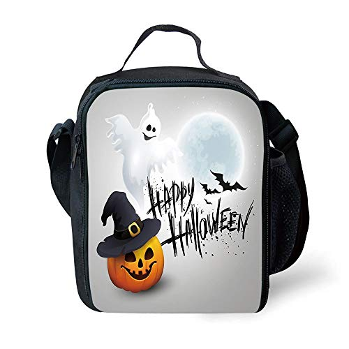 ZKHTO School Supplies Halloween,Happy Celebration Typography Stained Look Cute Ghost Pumpkin Hat Print Decorative,White Black Orange for Girls or Boys Washable