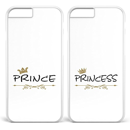 *Prince & Princess / Pärchen Doppelhülle * Apple iPhone 5 6 7 Galaxy S5 S6 S7, Handymodell:Apple iPhone 6 / 6S, Farbe & Namen:Weiße Hülle / Weißes Motiv*