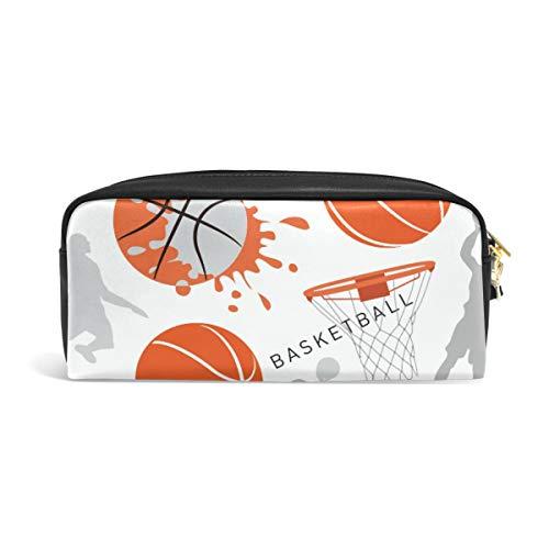 Basketball Stifttasche für Teenager, mit Reißverschluss, für Jungen, Mädchen, Frauen, Schule, Schreibutensilien, Leder PU mit Fächern (Billig Bulk Basketbälle In)
