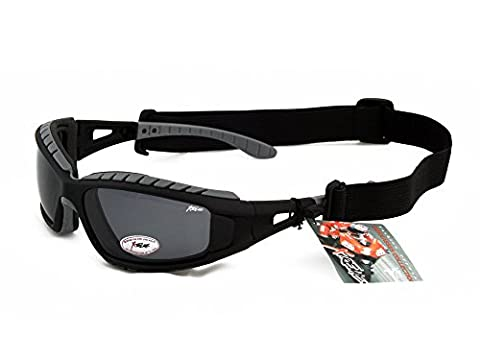 Foam Padded Xtreme 2in1 POLARIZED Goggles Sunglasses for Kayaking, cycling.. No glare, grey smoke lens