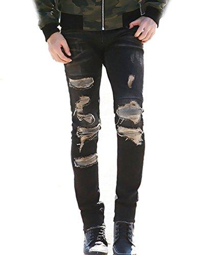 Ghope Jeans Pantalons des trous de patch de sexe masculin de la marée personnalité hommes rétro Conception originale du nouveau patch Noir