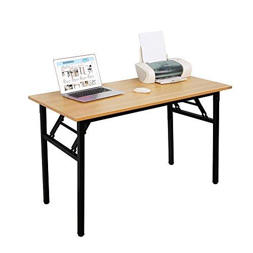 NeedFurniture Mesa Escritorio Plegable, 120x60 cm Mesa de Ordenador Escritorio de Oficina Mesa de Estudio Mesa de Comedor Plegable para Hogar Oficina/Picnic, Teca & Negro