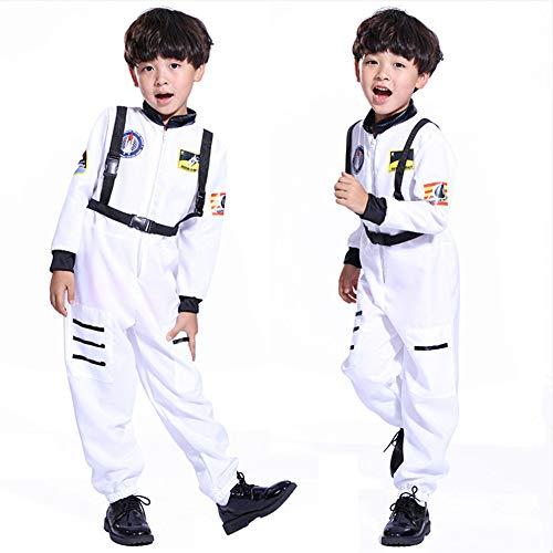 nd Junge Mädchen Cosplay Kostüm Spatial Astronaut Kostüm Driver Tenus für Karneval Halloween Party Kleidungsstück Cosmonaut 4-15 Jahren-Weiß, XL (für 130-140cm) ()