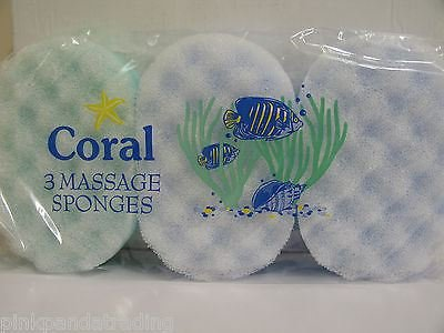 1 PACK OF 3 CORAL BATH MASSAGE SPONGES