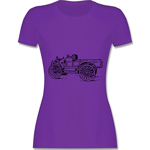 Landwirt - Traktor alt Planwagen - tailliertes Premium T-Shirt mit Rundhalsausschnitt für Damen Lila