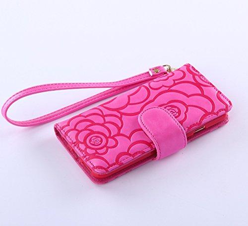 Pour iPhone 6/6s Coque, iNenk® Retro Une fleur Modèle Téléphone Coque PU Cuir Portefeuille Carte Chaîne Téléphone Coque Housse protection-De couleur crème Rose rouge