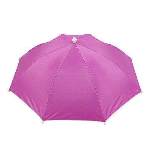 DealMux Rosa Kopfbedeckung Polyester Canopy Regenschirm-Hut für Angeln
