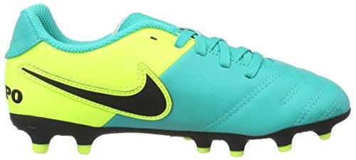 Nike - Jr Tiempo Rio III FG, Scarpe da calcio Unisex – Bimbi 0-24 Turchese (Clear jade/black-volt)