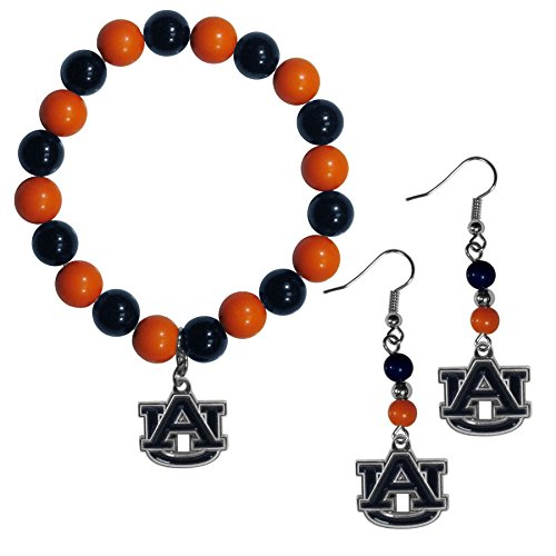 Siskiyou Damen Auburn Tigers Fan Perle Ohrringe und Armband Set, Orange, baumeln
