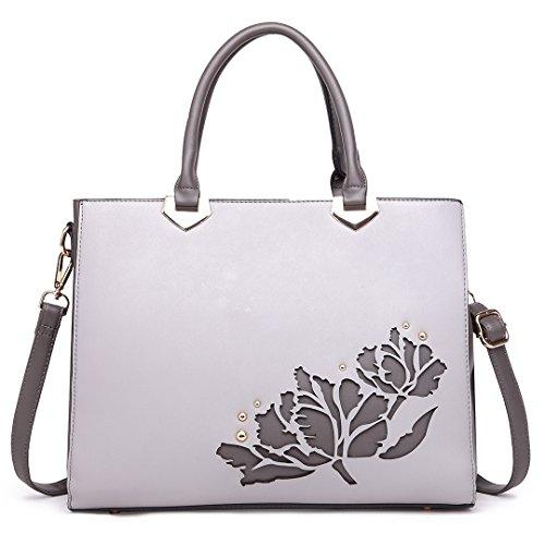 Miss LuLu Handtasche Retro Damen Aktentasche Schultertasche Tote Bag PU-Leder klassisch (LT1738-Grau) (Hobo Bag Klassische)