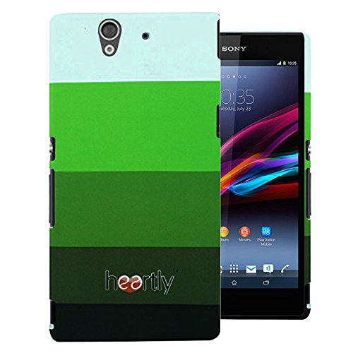 Heartly Strip Style Retro Color Armor Hybrid Hard Bumper Back Case Cover For Sony Xperia Z L36H L36I - Army Green  available at amazon for Rs.299