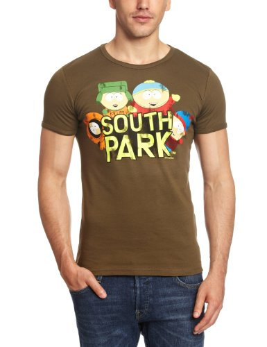 Logoshirt Unisex Hemd T-Shirt Slim Fit South Park-Wild Bunch, Grün (Olive), M