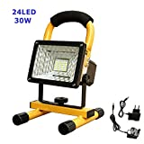 longdafei Rechargeable Work Light, 30W 24 LED Outdoor Floodlight Camping Lights with St