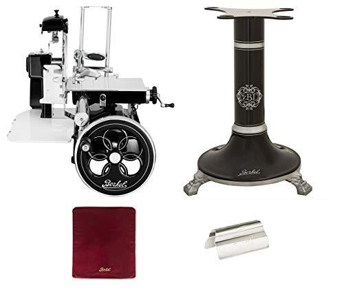Berkel - Schwungrad B3 - Schwarz mit Silbernen Verzierungen - Geblühtes Schwungrad + Roter Slicer Deckel + Schinkenzange + Sockel