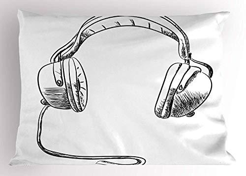 ase Sketch Style Hand Drawn DJ Headphones Rhythm Radio Modern Hippie Art Illustration 30 X 20 inches ()