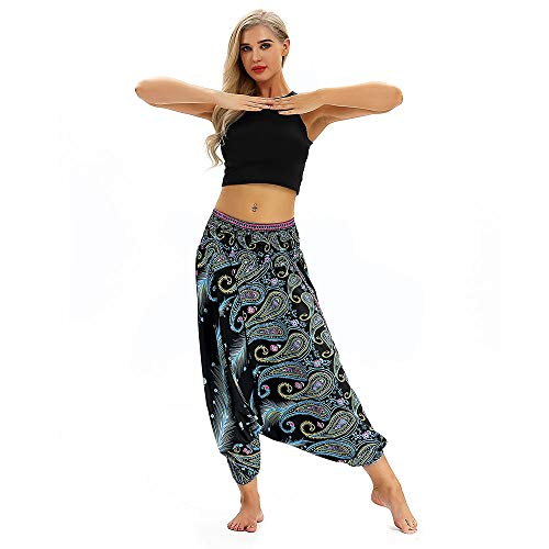 YWLINK Frau BeiläUfig Lose Yoga Hosen Ausgebeult Boho Aladdin Overall Haremshose -