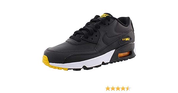 Nike Air Max 90 Pelle Nero/Amarillo-Antracite (GS), (Black ...