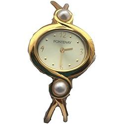 Fontenay Damen Analog Quarz 18 KT Vergoldete Armbanduhr mit 2 echten Perlen.