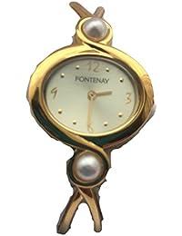 Fontenay Montre analogique pour femme, quartz 18 KT, plaqué or avec 2 perles authentiques.