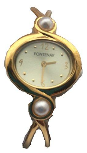 fontenay-montre-analogique-pour-femme-quartz-18-kt-plaque-or-avec-2-perles-authentiques