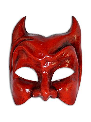 Máscara veneciana mitad Diavolo para hombres (rojo)