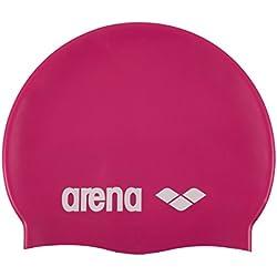 Arena Classic Silicone Bonnet de Piscine Mixte Adulte, Fuchsia/Blanc, Taille Unique