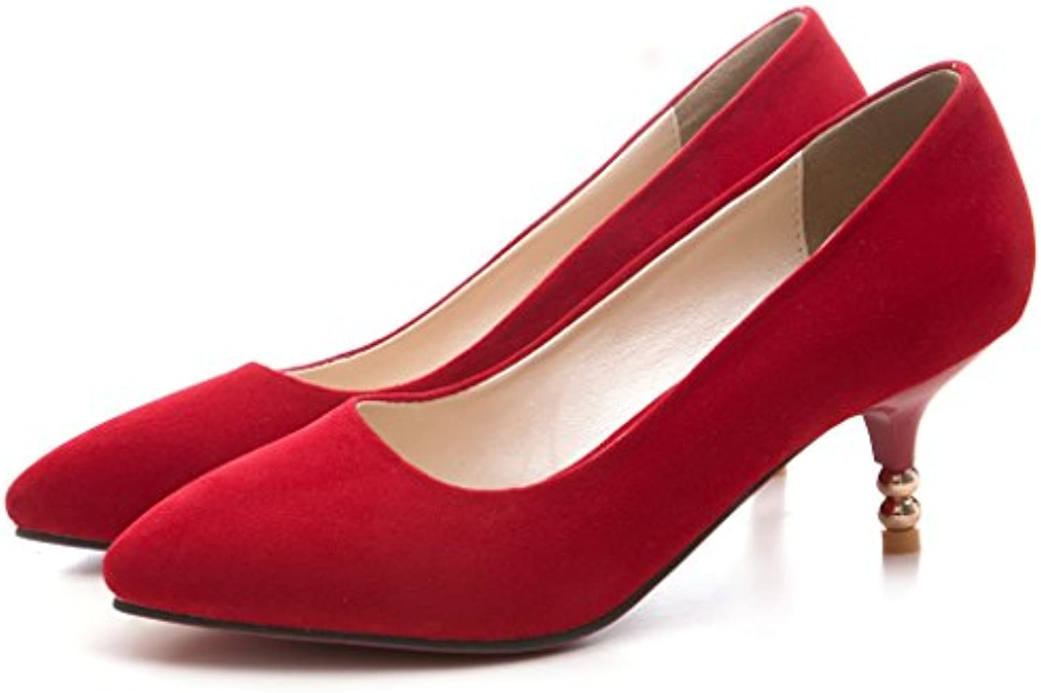 dd2a89eedab Kaloosh Women s Suede Suede Suede Leather Pinted Toe Kitten Heels Party  Pumps Wedding Court Shoes B07BKQ3MLX