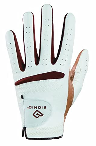 Bionic Women's RelaxGrip Left Hand Golf Glove, White/Caramel,