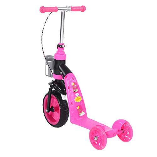 Cocoarm Kinderroller Höhenverstellbar Kinderscooter Dreiradscooter mit Getränkehalter und Bremse, Kann Sitzen und Stehen, Verstellbarer Roller für Kinder 3-7 Jahre alt (Pink) (Getränkehalter Scooter Für)