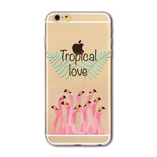 Coque Iphone 7 en Gel silicone souple transparent , flamant rose , Flamingo , multi petit flamant rose Flamant tropical love