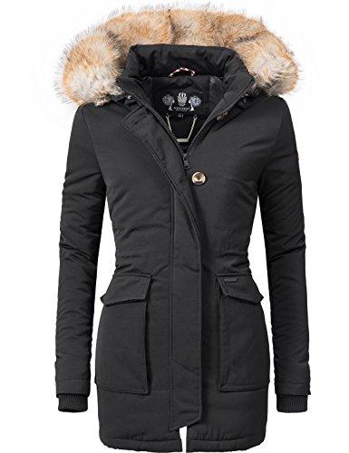 Navahoo Damen Winter-Jacke Winter-Mantel Schneeengel (vegan hergestellt) Schwarz Gr. M