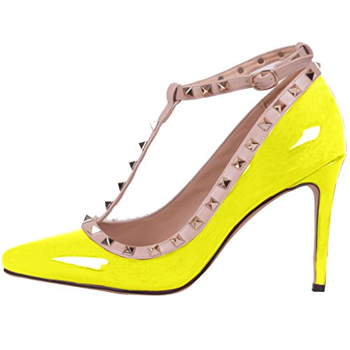 Calaier Ladies Caof 8.5cm Stiletto Slip On Pumps Scarpe Gialle