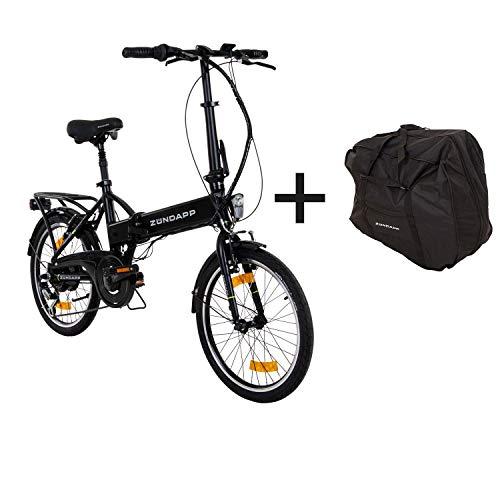 Zündapp E-Klapprad 20 Zoll mit Tasche Pedelec Elektrofahrrad Z101 E-Bike Faltrad (schwarz)