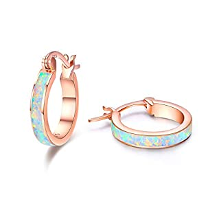 925 Sterling Silber Creolen Ohrringe für Mädchen,Opal Ohrringe Kleine Creolen Kreis Ohrringe Schmuck für Damen Hochzeits Jubiläums Valentinstag Geschenk für Mädchen Mama Frauen
