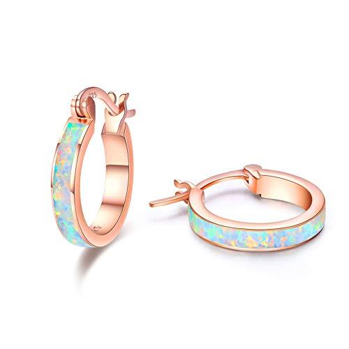 925 Sterling Silber Creolen Ohrringe für Mädchen,Opal Ohrringe Kleine Creolen Kreis Ohrringe Schmuck für Damen Muttertagsgeschenk Hochzeits Jubiläums Geschenke für Mädchen Mama Frauen (Rotgold)