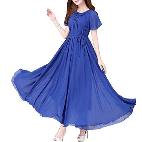 KAXIDY Damen Elegante Sommer Chiffon Abendkleider Party-Strand-lang Maxi Kleid mit Gürtel (Blau)